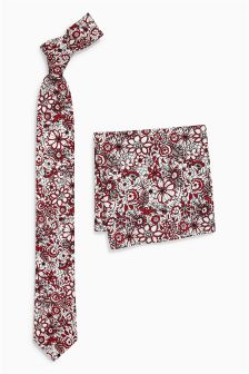 Floral Printed Tie And Pocket Square