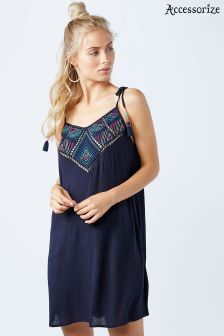 Accessorize Blue Geo Embroidered Top Dress