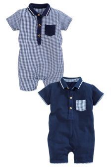 Navy/White Gingham Rompers Two Pack (0mths-2yrs)