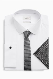 Shirt With Grey Tie And Pocket Square Set