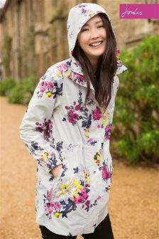 Joules Silver Floral Golightly Waterproof Pack Away Parka