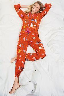 Printed Button Through Cosy Pyjamas