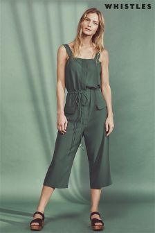 Whistles Green Jodie Drawstring Romper