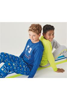 Pixel Face And Plain Pyjamas Two Pack (3-16yrs)