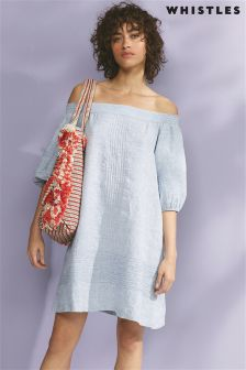 Whistles Chambray Lila Linen Bardot Dress