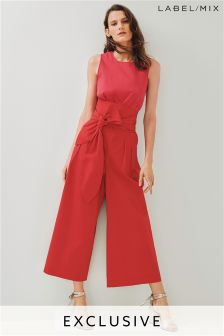 Mix/Isa Arfen Red/Pink Tie Waist Jumpsuit