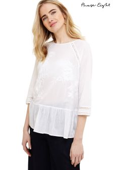 Phase Eight White Catalina Embroidered Peplum Blouse