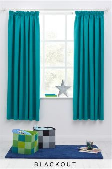 teal blackout pencil pleat curtains