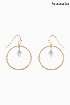 Accessorize Clear Saturn Sparkle Hoop Earrings