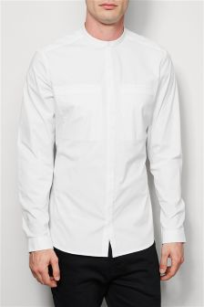 Long Sleeve Stretch Grandad Shirt