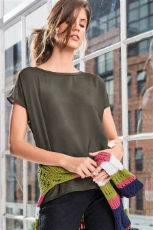 Woven Front Sweater