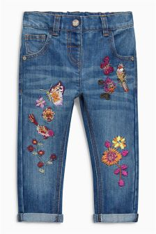 Bird Embroidered Jeans (3mths-6yrs)