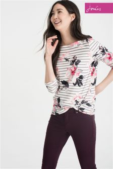 Joules Pink Harbour Print Floral Stripe Jersey Top