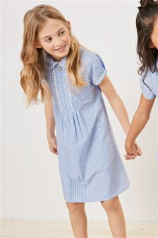 Zip Through Lace Detail Gingham Dress (3-14yrs)
