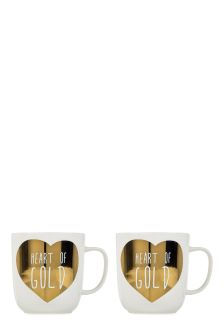Set Of 2 Gold Heart Metallic Mugs