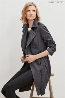 Mint Velvet Grey Wrap Back Trench Coat