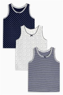 Spot And Stripe Vests Three Pack (1.5-12yrs)