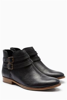 Washed Leather Chop Out Boots
