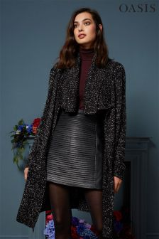 Oasis Black Drape Tweed Cardi