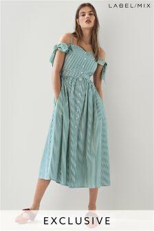 Mix/Isa Arfen Button Front Off Shoulder Dress
