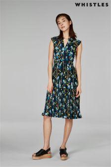 Whistles Blue Iris Celia Pleated Dress