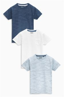 Blue Textured T-Shirts Three Pack (3mths-6yrs)