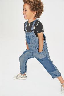 Denim Patched Dungarees (3mths-6yrs)