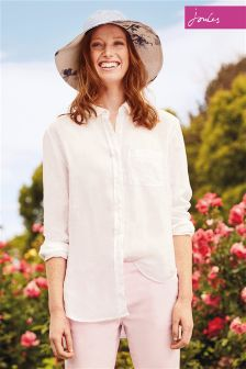 Joules Jeanne Bright White Linen Longline Shirt