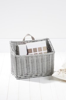 Grey Painted Willow Magazine Basket