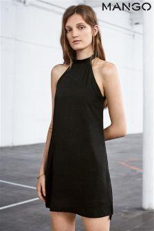Mango Black Tie Neck Dress