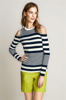 Stripe Cold Shoulder Sweater
