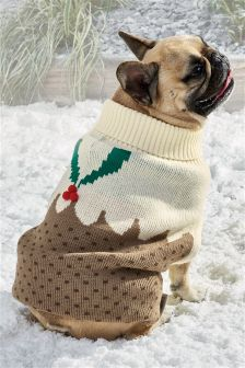 Christmas Pudding Knitted Dog Jumper