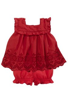 Red Cotton Lace Dress And Bloomer Set (0mths-2yrs)