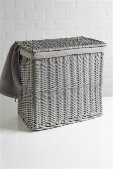 Grey Painted Willow Laundry Sorter