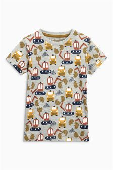 Short Sleeve All Over Print Diggers Top (3mths-6yrs)