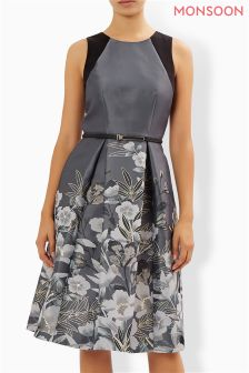 Monsoon Grey Nadine Jacquard Fit And Flare Dress