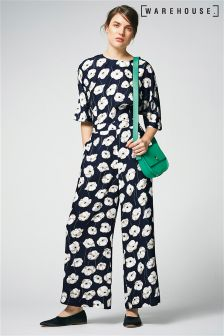 Warehouse Navy Floating Floral Jumpsuit
