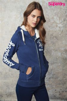Superdry Blue Appliqué Borg Zip Through Hoody