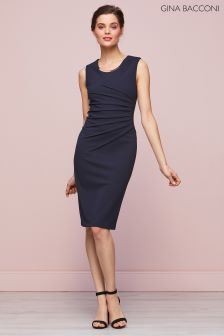 Gina Bacconi Navy Leona Scuba Crepe Dress