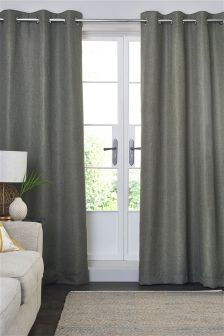 Blackout Textured Weave Eyelet Curtains