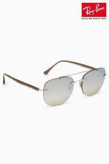 Ray-Ban® Silver Mirror Brown Gradiant Rimless Sunglasses