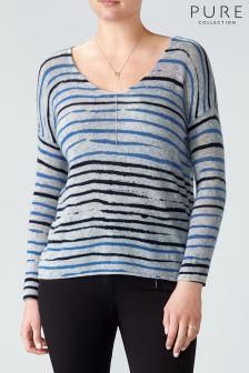 Pure Collection Blue Blurred Stripe Printed Gassato Sweater