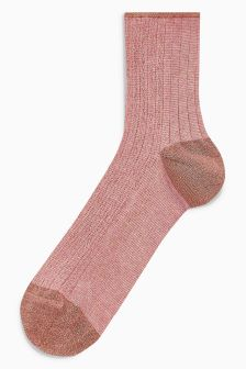 Sparkle Ribbed Ankle Socks