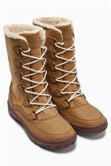 Tan Lace-Up Detail Snow Boots