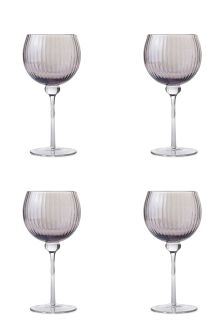 Set Of 4 Hand Blown Lustre Wine Glasses