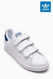 adidas Originals White/Blue Velcro Stan Smith