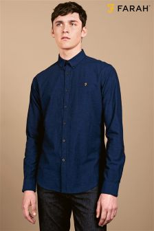 Farah Navy Slim Fit Oxford Shirt