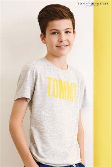 Tommy Hilfiger Grey Ame Flock Logo T-Shirt