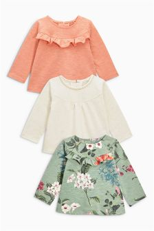 Frill Detail Tops Three Pack (3mths-6yrs)