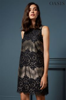 Oasis Gold/Black Metallic Lace Dress